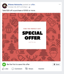Sample of Facebook Offer.