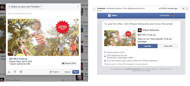 Sample Facebook Deal & Contest – Connecting you with customers